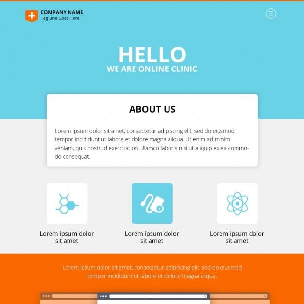 Une page en ligne clinique conception de site web psd Psd gratuit