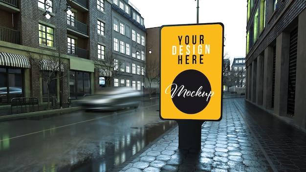 Panneau D'affichage Sur La Maquette D'affiche De Rue PSD Premium
