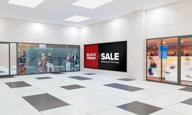 Panneau D'affichage Sur Maquette Murale Dans Le Centre Commercial Avec Bannière De Vente Black Friday PSD Premium