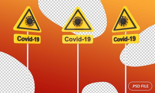 Panneau D'avertissement De Covid Isolé PSD Premium