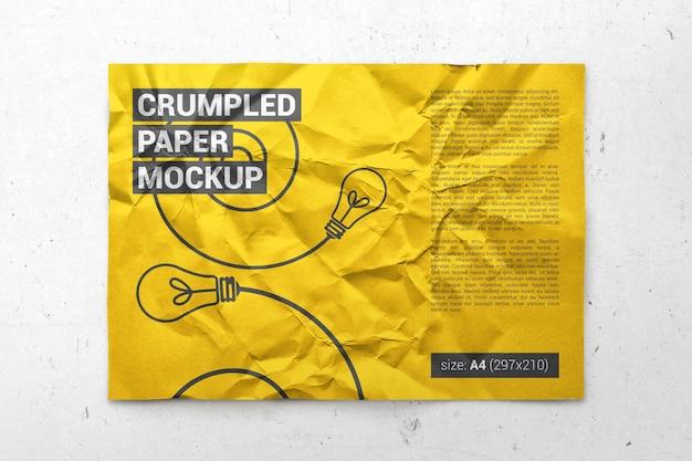 Papier a4 froissé, affiche, maquette de flyer PSD Premium