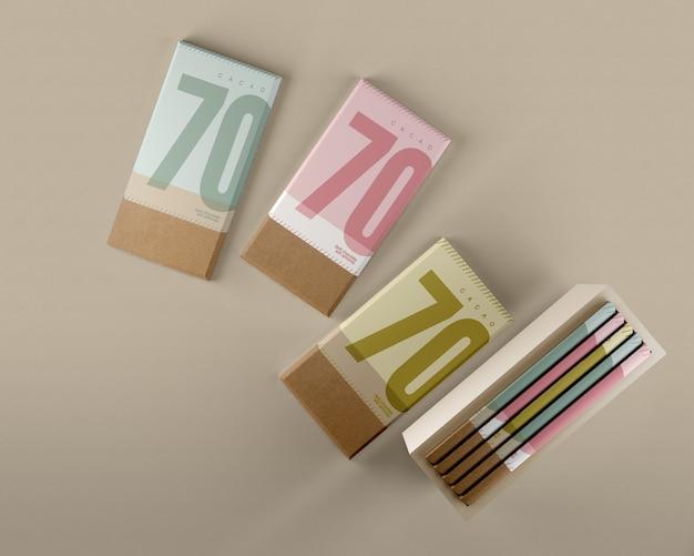 Papier d'emballage au chocolat et maquette de boîte Psd gratuit