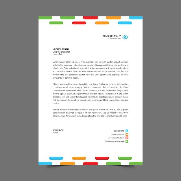 Papier à en-tête a4 coloré PSD Premium
