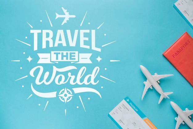 Parcourez le monde, citation de lettres de motivation pour le concept de voyage de vacances Psd gratuit