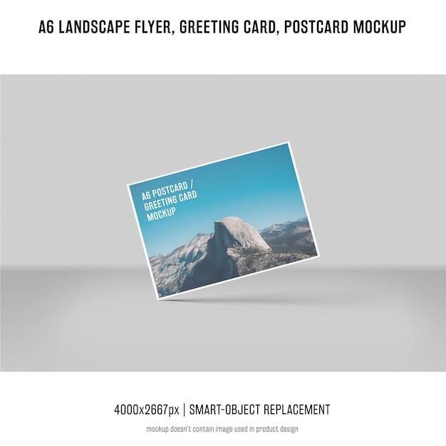Paysage, dépliant, carte postale, maquette de carte de voeux Psd gratuit