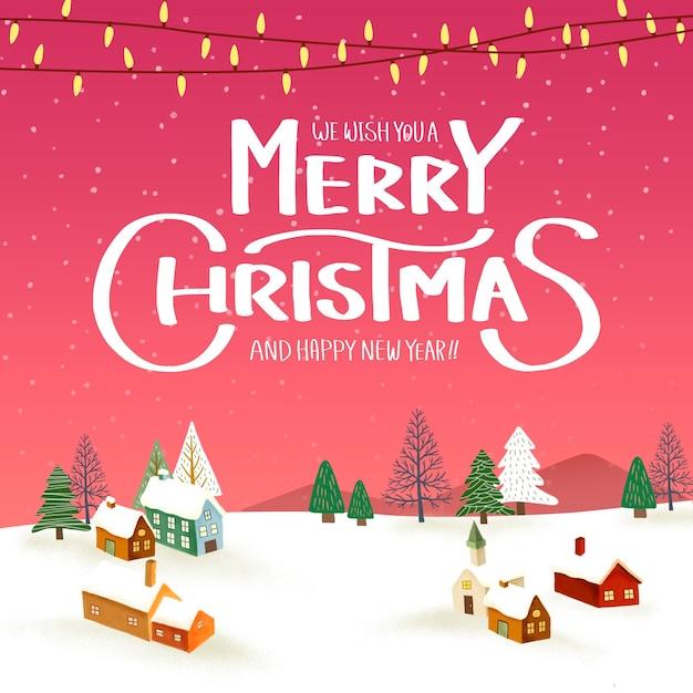 Paysage D'hiver Avec Modèle De Fond Joyeux Noël PSD Premium