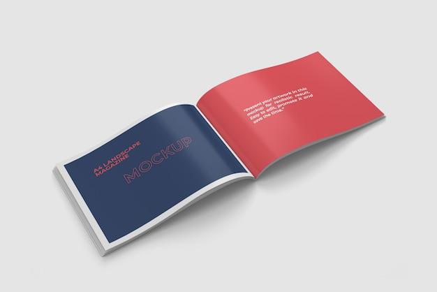 Paysage Ouvert Maquette De Magazine A4 Vue Grand Angle PSD Premium
