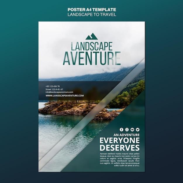 Paysage Pour Modèle D'affiche De Concept De Voyage Psd gratuit