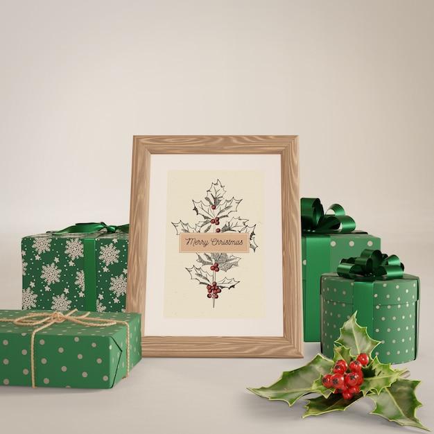 Peinture Autour Avec Maquette De Cadeaux Psd gratuit