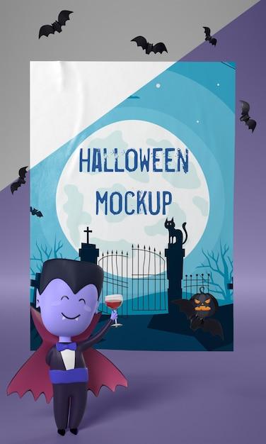 Personnage De Vampire à Côté De La Maquette D'affiche D'halloween Psd gratuit