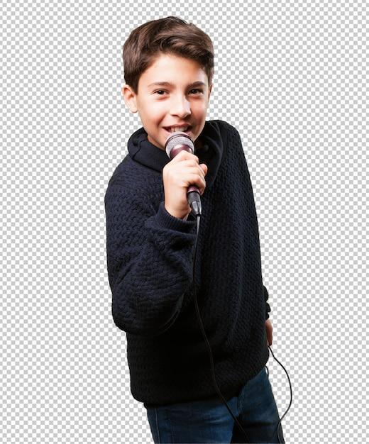 Petit garçon chante PSD Premium