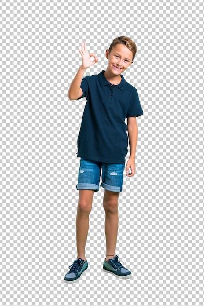 Petit garçon montrant un signe ok avec les doigts PSD Premium