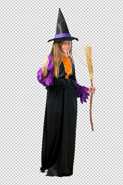 Petite fille habillée comme une sorcière pour les vacances d'halloween donnant un coup de pouce geste et souriant PSD Premium