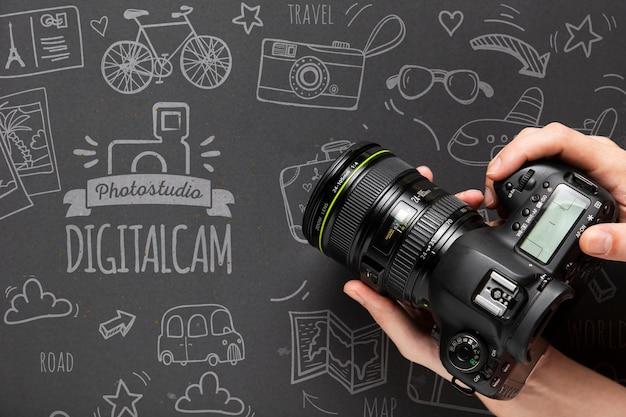 Photographe, Tenue, Appareil Photo Psd gratuit