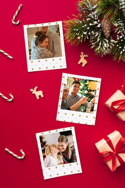 Photos de famille heureux à plat sur noël Psd gratuit
