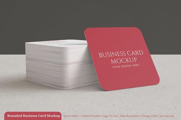 Pile De Carte De Visite D'entreprise Carré Rond Maquette Avec Du Papier Texturé PSD Premium