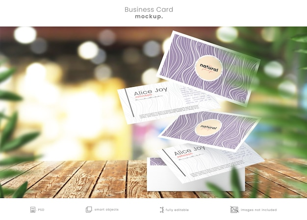 Pile De Cartes De Visite Avec Des Cartes Flottantes PSD Premium