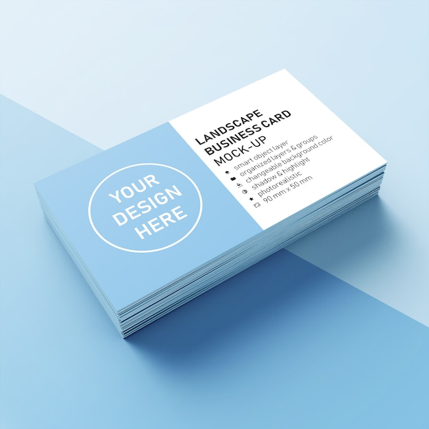 Pile réaliste prête à l'emploi de carte de visite paysage 90 x 50 mm avec modèle de conception de coin pointu en vue de face en perspective PSD Premium