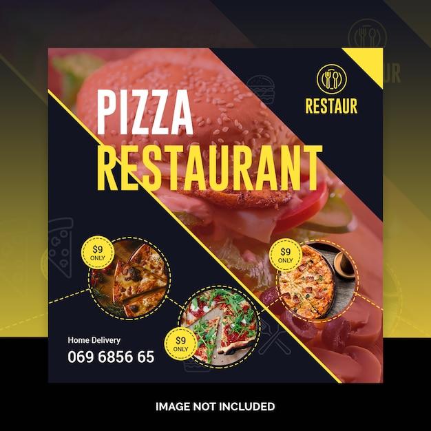 Pizza bannière de publication sur les médias sociaux PSD Premium