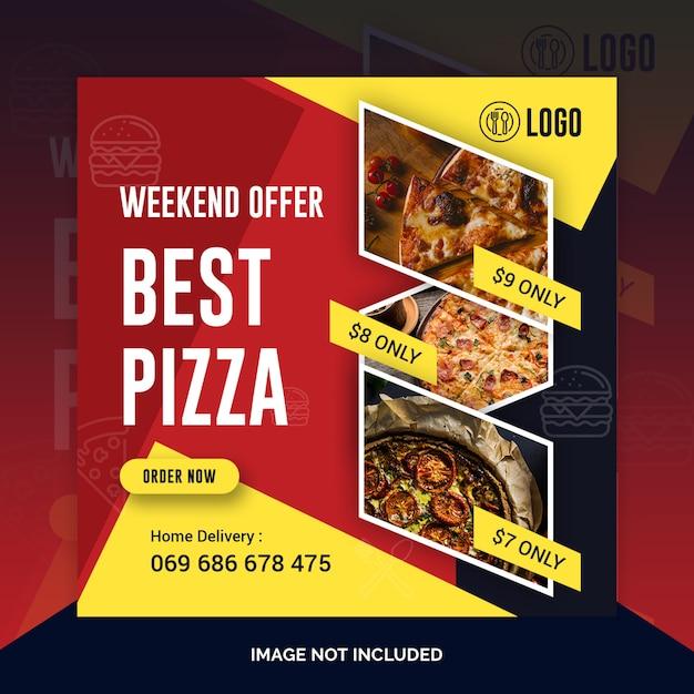 Pizza restaurant instagram post, bannière carrée ou modèle de flyer PSD Premium