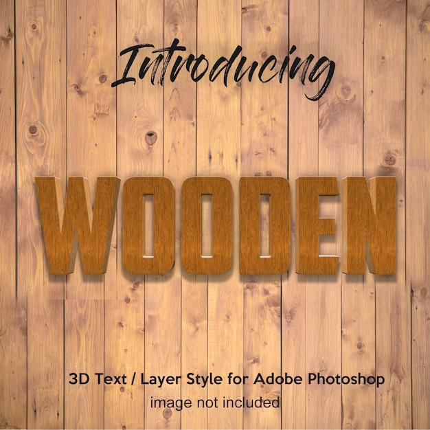 Planche de bois 3d bois effets de texte de style de couche photoshop texturé PSD Premium