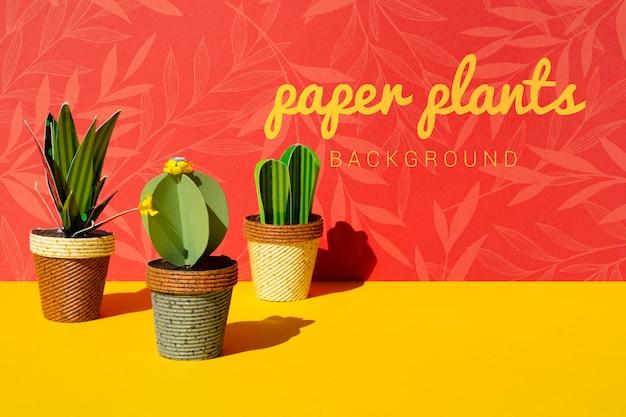Plantes De Cactus En Papier Tropical Avec Des Pots Psd gratuit