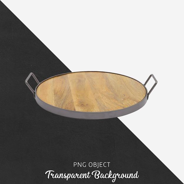 Plateau en bois avec poignée sur fond transparent PSD Premium