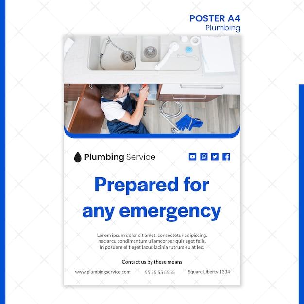 Plomberie Pour Toute Affiche D'urgence Psd gratuit