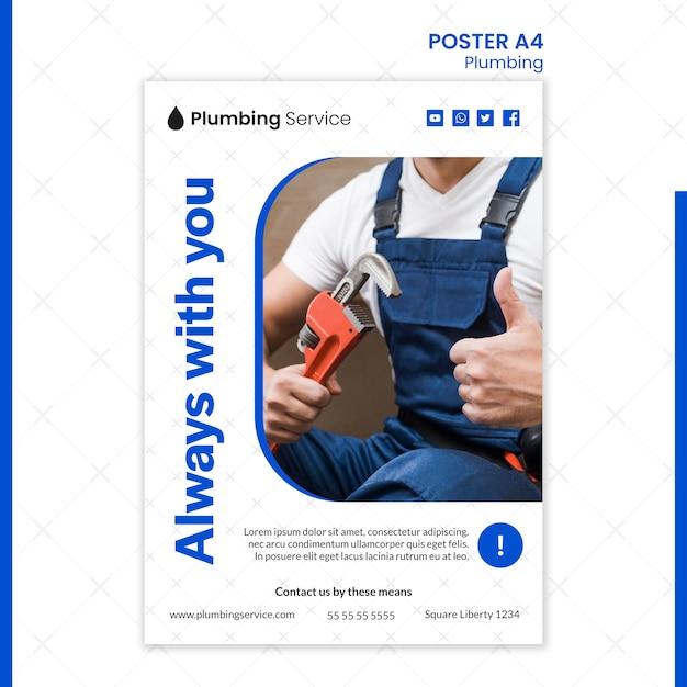 Plomberie Toujours Avec Vous Poster Psd gratuit