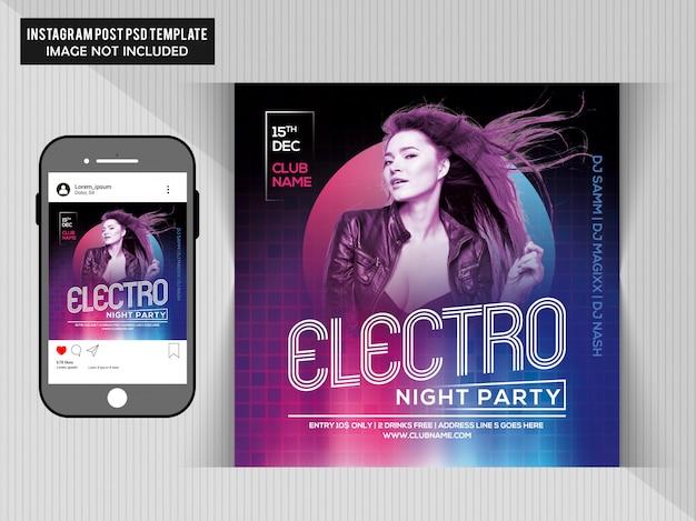 Pochette electro night party sur cd et téléphone PSD Premium