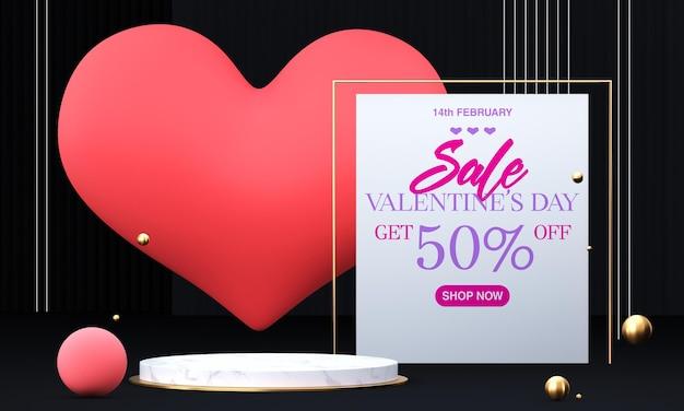 Podium à La Saint-valentin Avec Des Décorations PSD Premium