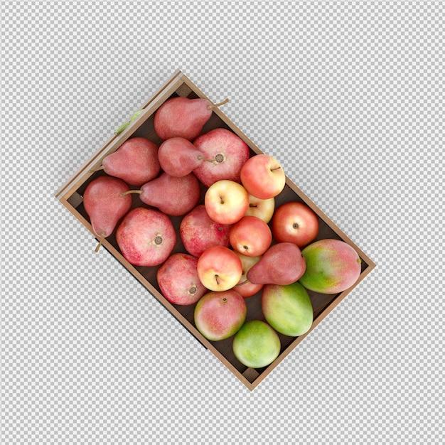 Poires pommes mangue rendu 3d PSD Premium