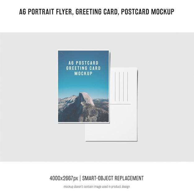 Portrait, carte postale, maquette de carte de voeux Psd gratuit