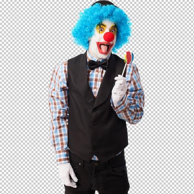 Portrait d'un clown drôle tenant une sucette PSD Premium