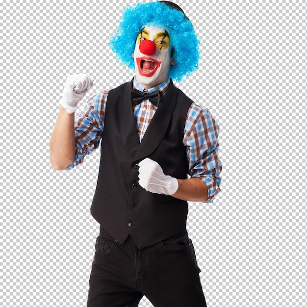 Portrait d'un clown souriant sur fond blanc PSD Premium