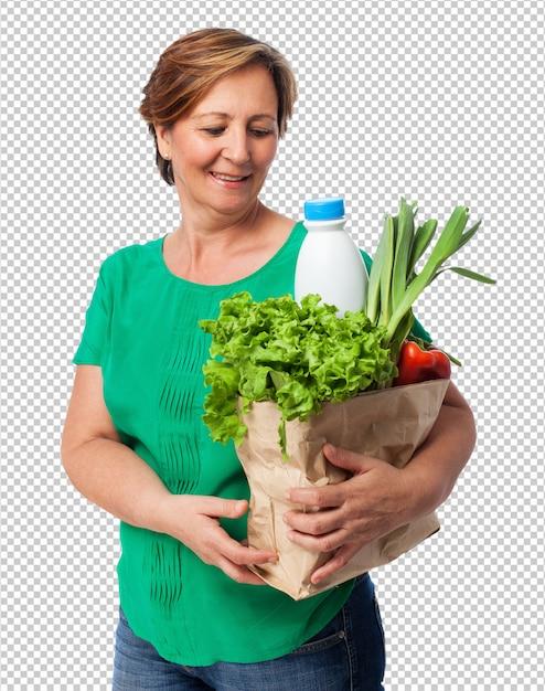 Portrait D'une Femme Mature Portant Un Sac De Courses PSD Premium