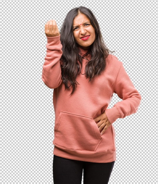 Portrait De Jeune Femme Indienne De Remise En Forme Faisant Un Geste Typiquement Italien, Souriant Et Regardant Droit Devant, Symbole Ou Expression Avec La Main, Très Naturel PSD Premium