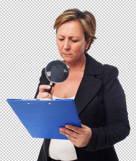Portrait, Mûrir, Femme Affaires, Regarder, Contrat PSD Premium