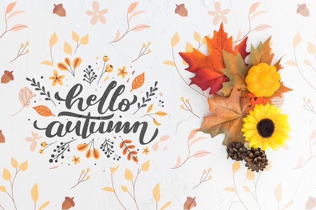 Pose plate de fleurs et de feuilles colorées Psd gratuit
