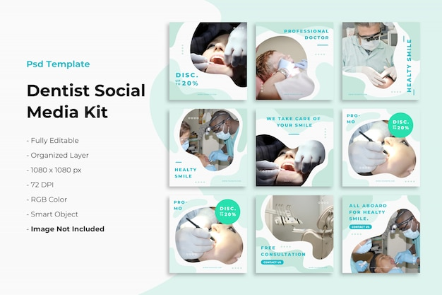 Post-collecte instagram sur le dentiste PSD Premium