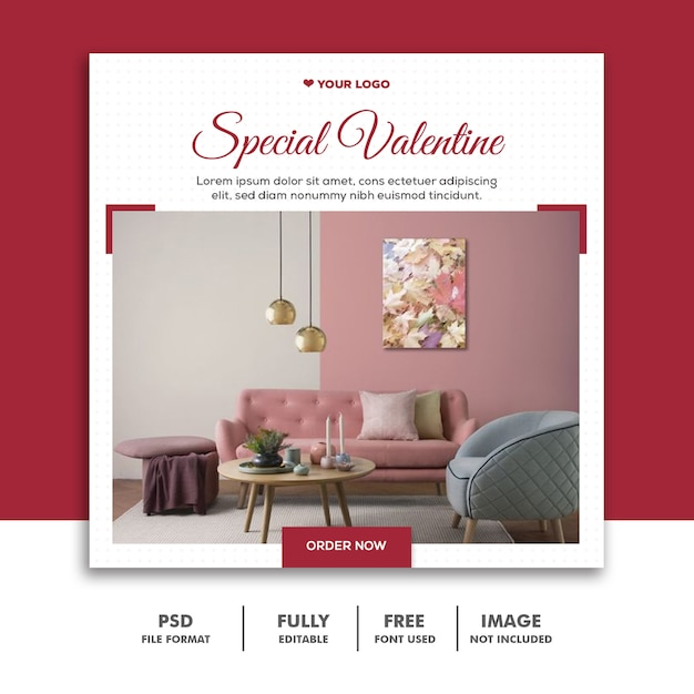 Post Spécial De Valentine Pour Les Médias Sociaux PSD Premium