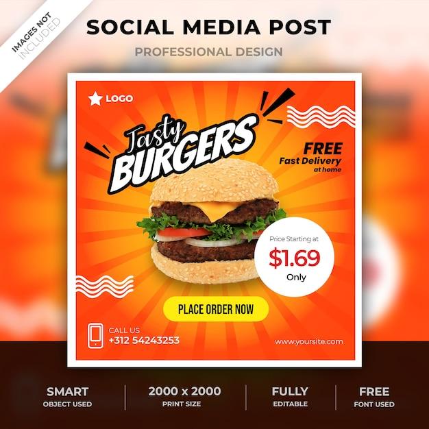 Poste alimentaire sur les médias sociaux PSD Premium