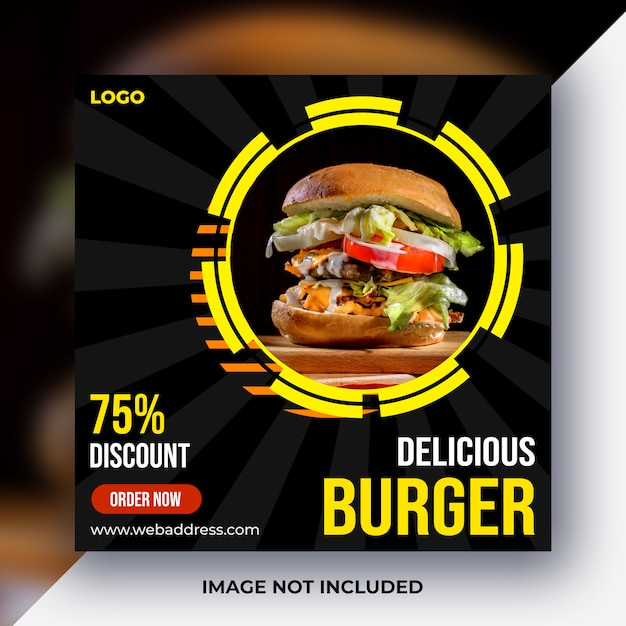 Poste de média social alimentaire PSD Premium