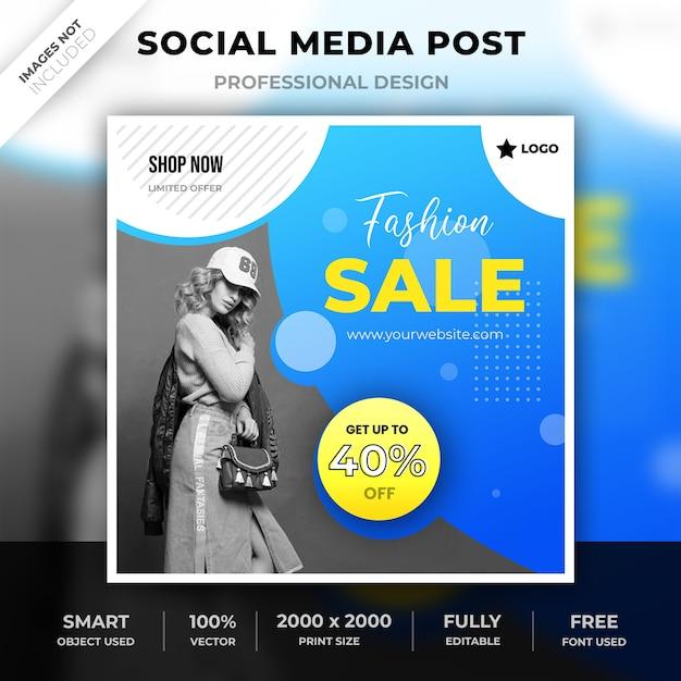 Poste de mode sur les médias sociaux PSD Premium