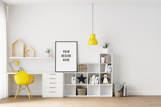 Poster frame mockup interior kids chambre avec des décorations PSD Premium