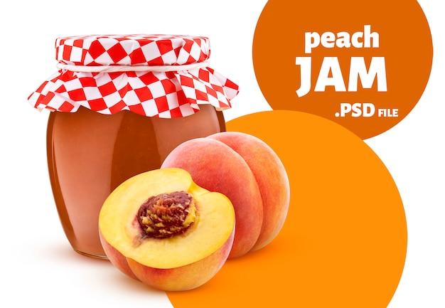 Pot De Confiture De Fruits De Pêche Isolé Sur Mur Blanc PSD Premium