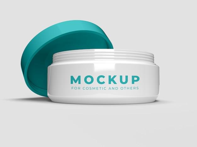Pot De Crème Avec Couvercle Ouvert Mockup PSD Premium