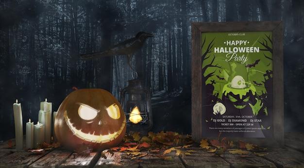 Potiron effrayant avec affiche de film d'horreur Psd gratuit