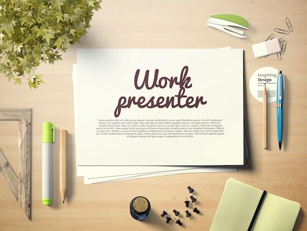 Présentateur de travail sur maquette de bureau Psd gratuit