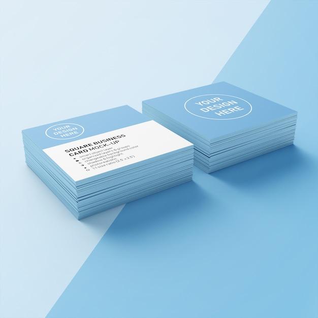 Prêt à utiliser maquette photoréaliste carrée de modèle de conception de carte de visite double pile en vue de dessus en perspective PSD Premium